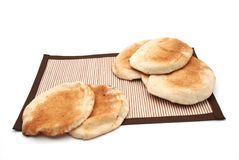 Arabic Bread. On brown table cover Royalty Free Stock Photography