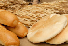 Arabic bread and baguette stock photos