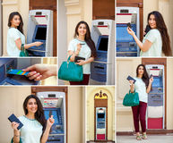 Arabic brunette woman withdrawing money from credit card at ATM Royalty Free Stock Photo