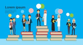 Arabic business group on different books stack bubbles chat, successful arab business team financial success teamwork. Concept, copy space, flat vector Stock Photo