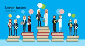 Arabic business group on different books stack bubbles chat, successful arab business team financial success teamwork. Concept, copy space, flat vector Royalty Free Stock Image