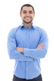 Arabic business man in blue shirt  on white. Background Royalty Free Stock Images
