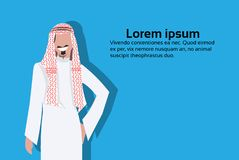 Arabic business man icon holding hand pocket wearing traditional clothes arab businessman male cartoon character avatar stock illustration