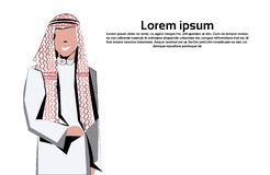 Arabic business man icon wearing traditional clothes arab businessman male cartoon character avatar isolated copy space stock illustration