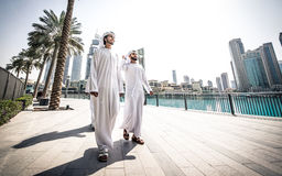 Arabic business men spending together. Three arabic business men spending time in Dubai Stock Image