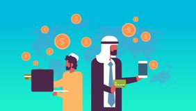 Arabic business people money transfer e-payment application dollar coin global online pay concept flat horizontal copy vector illustration