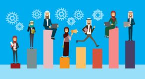 Arabic business team work processing on different stack, successful arab business group financial success teamwork. Concept, copy space, flat vector Royalty Free Stock Photo