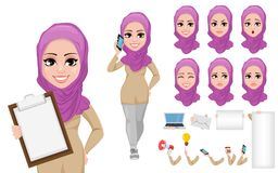 Arabic business woman cartoon character creation set. Young beautiful Muslim businesswoman in smart casual clothes. Build your personal design - stock vector Royalty Free Stock Photography