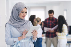 Arabic business woman working in team Stock Photography