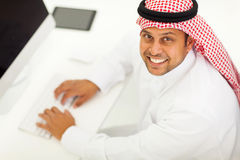 Arabic businessman computer Stock Images