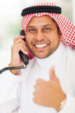 Arabic businessman landline Royalty Free Stock Photos