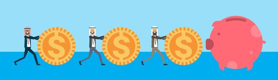 Arabic businessman rolling dollar coins to piggy box, successful arab business group accumulation of wealth growing stock illustration