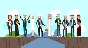 Arabic businessman shaking hands in business and traditional clothes over chasm between mountains, full length business. Agreement and partnership concept vector illustration
