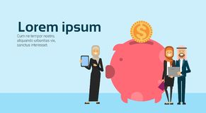 Arabic businesspeople hold laptop successful arab businessgroup accumulation of wealth in money box piggy bank growing. Financial success teamwork concept copy Stock Photography