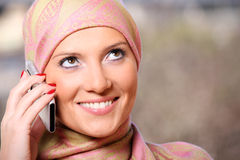 Arabic businesswoman. A portrait of a successful arabic woman talking on the cell phone Royalty Free Stock Photography