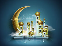 Arabic calligraphy design. Of text Eid Mubarak for Muslim festival. Splendid moon and mosque in gold Royalty Free Stock Photo