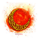 Arabic Calligraphy for Eid-Al-Adha Celebration. Stylish Arabic Islamic Calligraphy of Text Eid-Al-Adha Mubarak in Crescent Moon shape on abstract paint stroke Stock Photography
