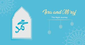 Arabic calligraphy of Prophet Muhammad. Isra and Mi`raj - means; two parts of the Prophet Muhammad`s Night Journey stock illustration