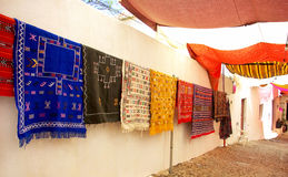 Arabic carpets in fair. Royalty Free Stock Images