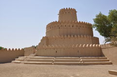 Arabic Castle. Exterior of historical Arabic castle in Al Ain city, United Arab Emirates Royalty Free Stock Photo
