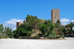 Arabic castle, Velez Malaga. View of the Arabic castle tower (Torre del Homenaje) with palm trees in the foreground, Velez Malaga, Costa del Sol, Malaga Stock Photo