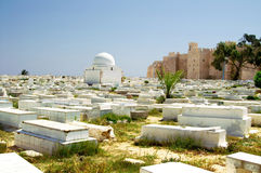Arabic cemetery next to Ribat in Monastir Stock Photos