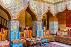 The arabic chamber. KAIROUAN, TUNISIA - AUGUST 30, 2015: The meeting hall in Governor mansion decorated in traditional style with colorful glazed tile, on August Stock Photo