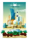Arabic City Landscape Poster Royalty Free Stock Photography