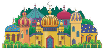 Arabic city. Multicolored Arabic city with character Islam buildings stock illustration