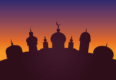 Arabic city. Silhouette of Arabic city with character Islam buildings vector illustration