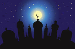 Arabic city. Silhouette of Arabic city with character Islam buildings at night royalty free illustration
