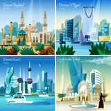 Arabic Cityscape 4 Flat Icons Square Stock Photo