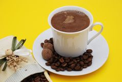 Arabic Coffee. Cup with coffee beans Stock Photo