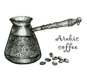 Arabic coffee. Black and white sketch Royalty Free Stock Image