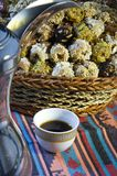 Arabic Coffee with Dates royalty free stock photography