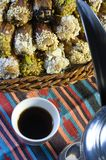 Arabic Coffee with Dates. Still life Composition of Ramadan Traditional Treat Stock Photos