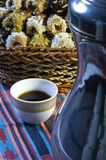 Arabic Coffee with Dates. Still life Composition of Ramadan Traditional Treat Royalty Free Stock Photography