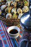 Arabic Coffee with Dates. Still life Composition of Ramadan Traditional Treat Royalty Free Stock Image