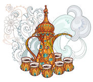 Arabic coffee maker dalla with cups. Greeting card or invitation, hand drawn sketch.Zen art hand drawn stock illustration