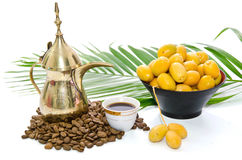 Arabic Coffee With Date Fruit Royalty Free Stock Image