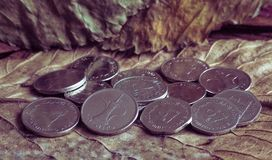 Arabic coins of dirhams on vintage background. royalty free stock image