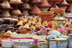 Arabic colorful bowls at souvenir market. Arabic souvenir colorful bowl and plate sold on the street. Modern art, abstract and realistic paintings and art crafts Stock Image