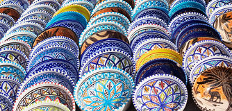 Arabic colorful pottery. Beautiful arabic colorful pottery bowls made of mosaic vibrant glass tiles Royalty Free Stock Photo