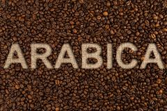 Arabic concept written on coffee beans. And jute canvas fabric Royalty Free Stock Photos