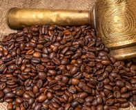 Arabic copper turks, coffee grains Stock Photo