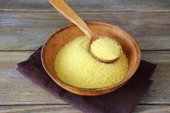 Arabic couscous in a bowl on wooden boards. Food ingredient Royalty Free Stock Image
