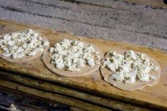 Arabic cuisine, cheese manakeesh Stock Photo