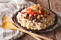 Arabic cuisine: kushari of rice, pasta, chickpeas and lentils cl Royalty Free Stock Photography
