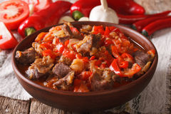Arabic cuisine: lamb stew with vegetables close up in a bowl. ho Royalty Free Stock Photo
