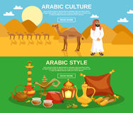 Arabic Culture Banner. Arabic culture horizontal banner set with food drinks and camels on desert background  vector illustration Stock Photos